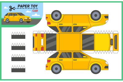 Car paper cut toy. Create 3d vehicle model yourself with scissors and