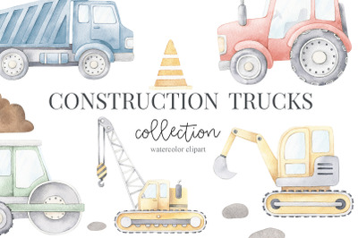 Watercolor Construction Trucks Set