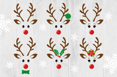 Cute Reindeer SVG, Reindeer Face SVG, Christmas SVG, Reindeer Boy Girl