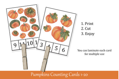 Pumpkins Counting Cards. Printable Math Flash Cards