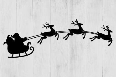 Santa's Sleigh SVG, Christmas SVG, Santa Claus SVG, Reindeer Clipart,