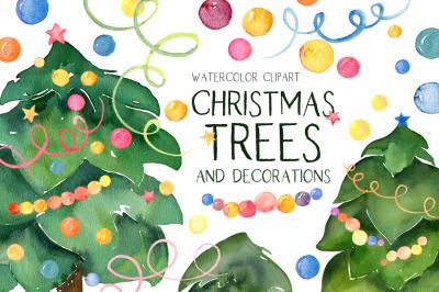 Watercolor Christmas Trees Xmas Fir Pine