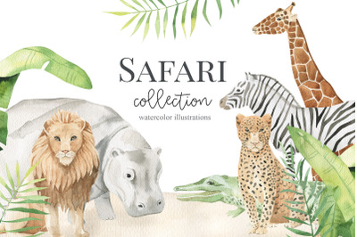 safary animals - watercolor set