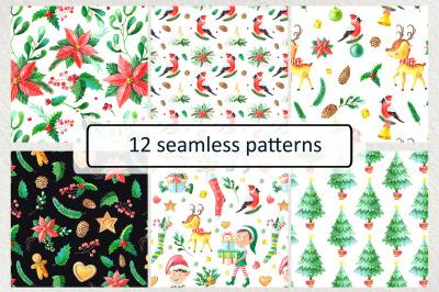 12 Christmas seamless patterns
