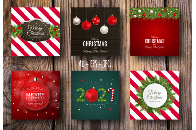 Collection of 6 Merry Christmas and New Year Background