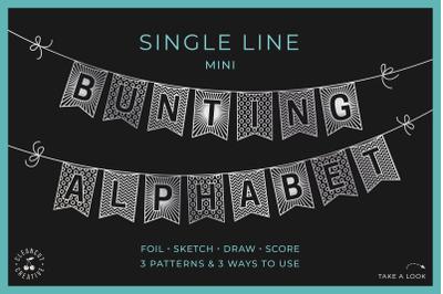 Flag banner svg MINI BUNTING ALPHABET | single line foil sketch draw