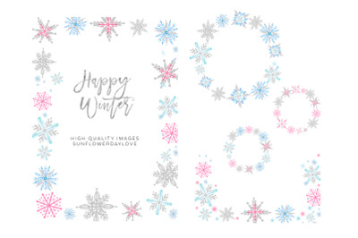 snow snowflakes border, snowflakes overlays, Christmas overlays
