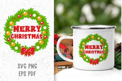 Merry Christmas wreath svg Christmas svg Christmas decor svg cut file