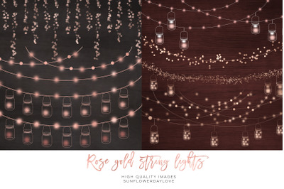 String lights overlay, fairy lights,  Rose Gold String Lights