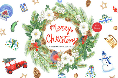 Merry Christmas watercolor collection