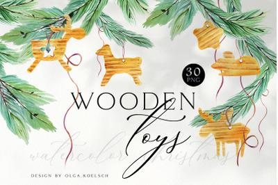 Natural christmas clipart, Watercolor Christmas wreath wooden decor
