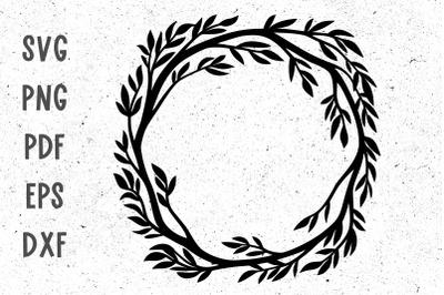 Floral twig wreath svg cut file for cricut