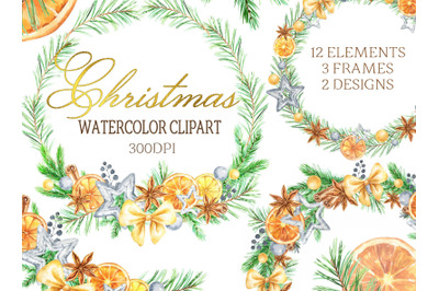 Watercolor Christmas clipart oranges citrus winter frame cinnamon wrea