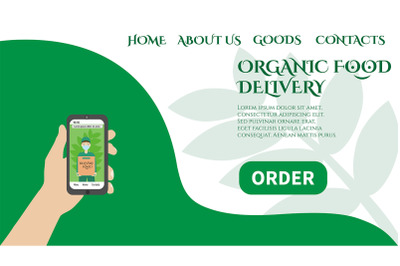 Layout web page delivery of environmental products. Organic food.