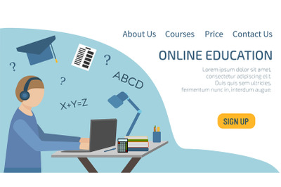 Landing page online education. A teenager sits in headphones and studi