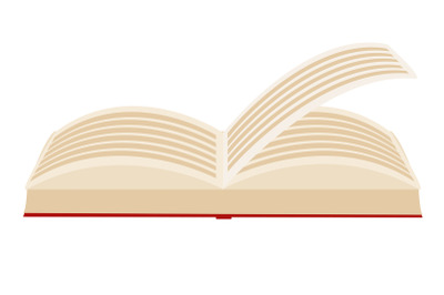 Red covered opened book with pages fluttering on white background.