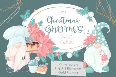 Christmas gnomes, Gold frames and clipart elements