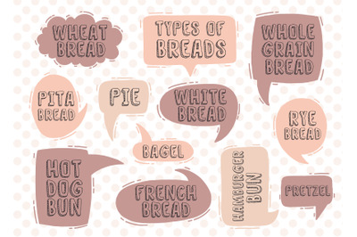 Set text types of breads