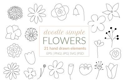 Floral doodle svg, flowers doodle clipart. Herbs clipart, botanical sv