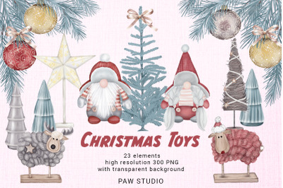 Christmas Toys Gnomes Tree Wreath Deer Sheep Holiday Clipart