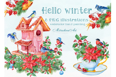 Christmas clipart. Watercolor illustrations, birdhouse, bouquets in cu