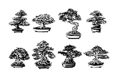 Bonsai tree japanese hand drawn illustration set