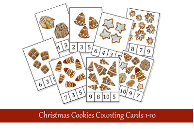 Christmas Cookies Counting Clip Cards. Printable Montessori Materials.