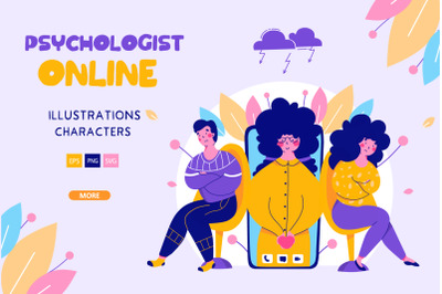 Online psychologist - cartoon illustrations