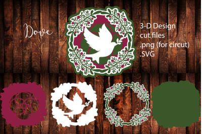 3-D Christmas layered cut files | Dove