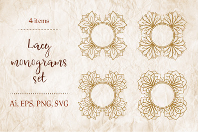4 lacy floral frames.