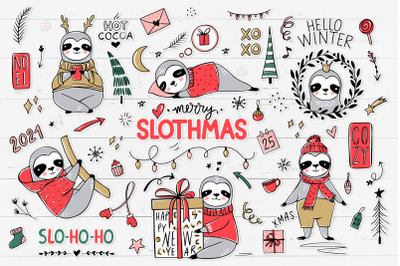 Christmas Sloths, Sloth clipart