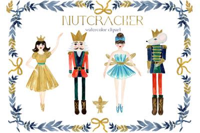 Nutcracker Clipart. Watercolor Christmas