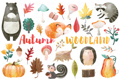 Watercolor Autumn Woodland Set