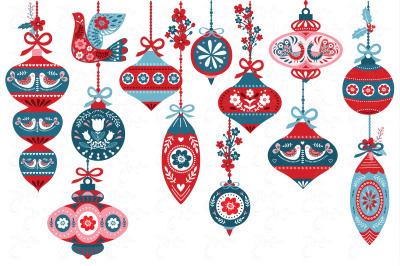 Scandinavian Christmas Ornaments Set