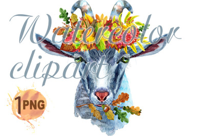 Goat character in wreath of autumn leaves watercolor illustration