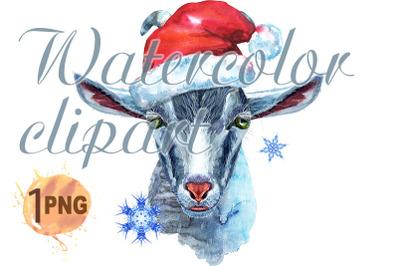 Goat character in Santa hat watercolor illustration