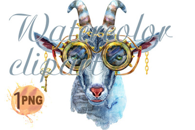 Goat with steampunk glasses watercolor illustration