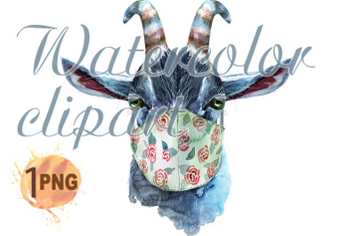 Goat in protective mask watercolor illustration