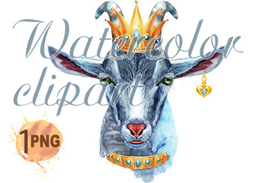 Goat horoscope character watercolor illustration