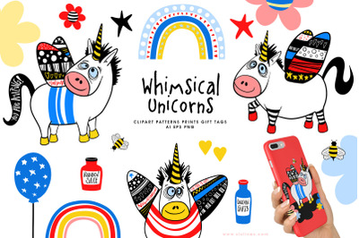 Whimsical Winged Unicorns & Rainbows AI EPS PNG