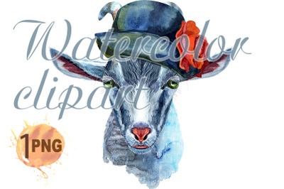 Goat with gray hat character watercolor illustration.