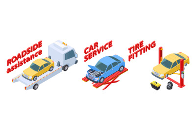 Auto service isometric. Roadside assistance, tire fitting, car repair