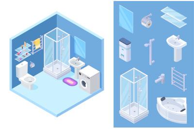 Bathroom isometric. Vector shower, toilet, bath furniture, mirror, gla