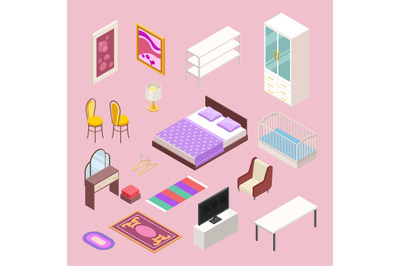 Bedroom furniture isometric. Vector bed, pillows, cabinet, wardrobe, c