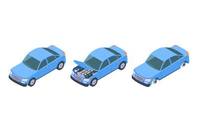 Car isometric. Vector car repair illustration. Isometric blue auto upg