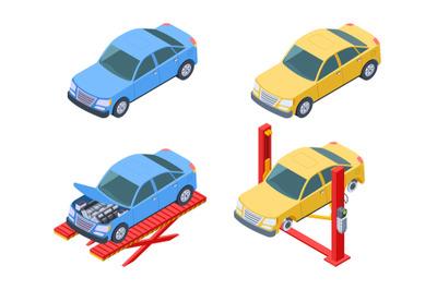 Car repair isometric. Vehicle service, changing wheels vector illustra
