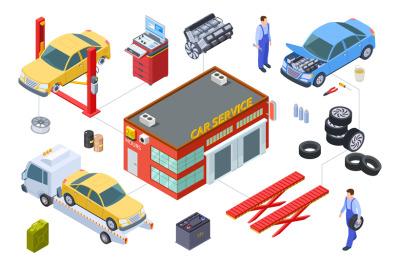 Car service isometric concept. Vector venicle, tire service illustrati