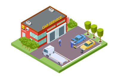 Car service location. Isometric service building, vector tow truck, ti