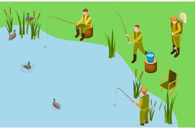 Fishermen on the lake. Vector isometric fishing concept. Male hobby, o