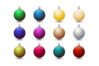 Colorful Christmas Tree Baubles Icon Set